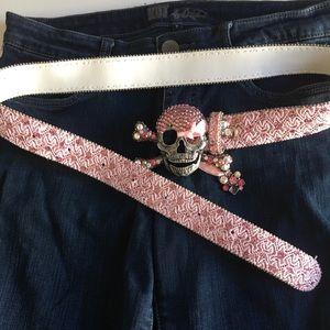 Accessories - Pink rhinestone skull belt